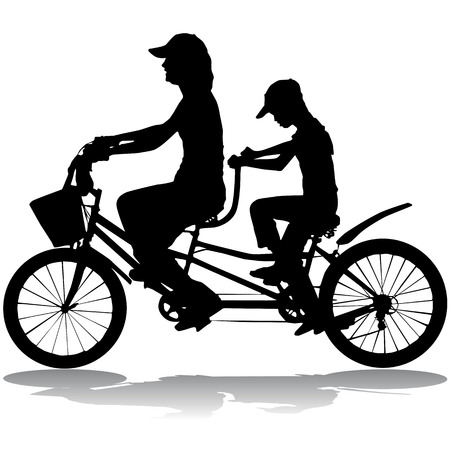bicycle silhouette: family riding a bicycle