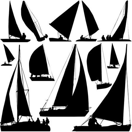 boat motor: sailing boat race vector