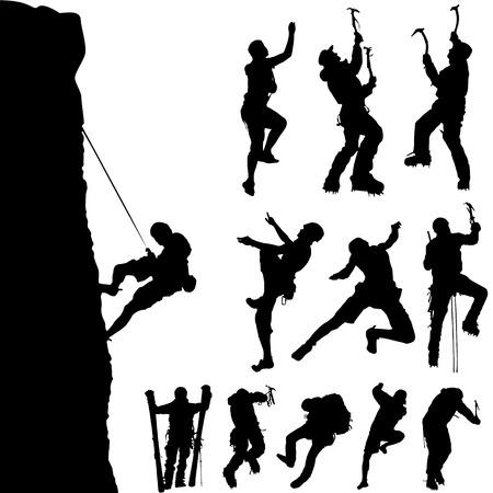 bergbeklimmen: Berg klimmer set  Stock Illustratie