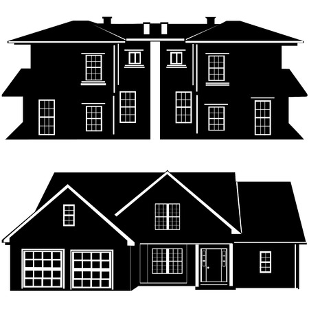 residences building vector Illustration