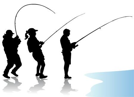 hombre pescando: vector de pescador  Vectores