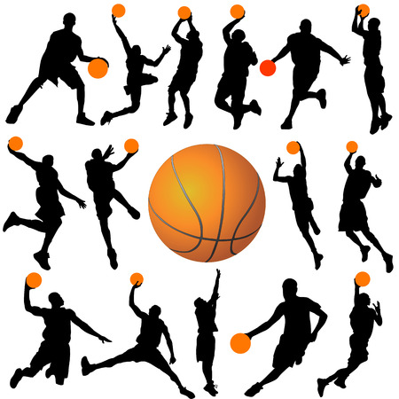 basketball net: basketball player silhouettes vector