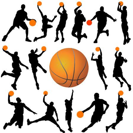 basketball net: vector de siluetas de jugador de baloncesto