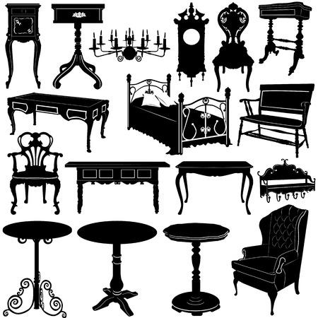 muebles antiguos: vector de muebles antiguos