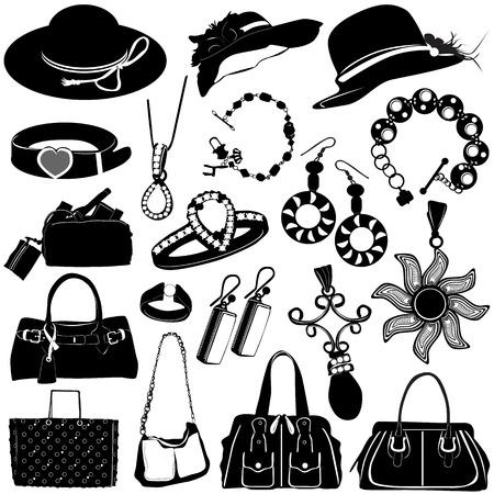 серьги: collection of women accessories vector  Иллюстрация