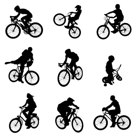 a set of wheels: bicycle vector Illustration