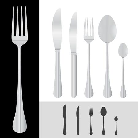 cuchara y tenedor: cuchara, horquilla, cuchillo