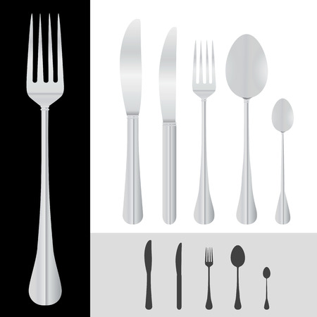 soup and salad: spoon, fork, knife