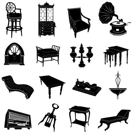 muebles antiguos: conjunto de muebles antiguos