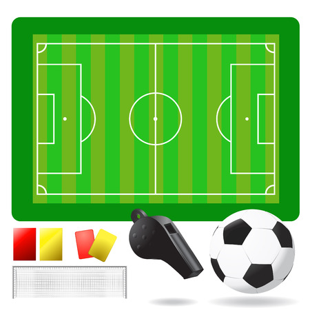 soccer field, ball and objects Stock Vector - 8498163