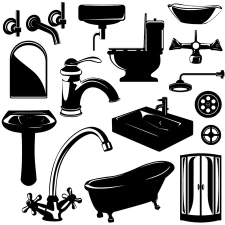 set of bathroom objects vector  Vector
