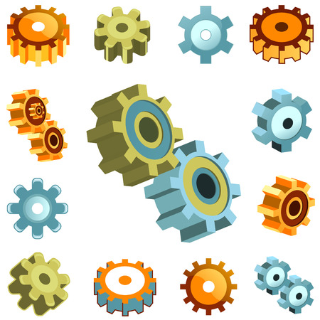meshed: set of gear wheels vector
