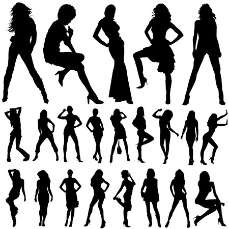 female silhouette: collection of model woman vector