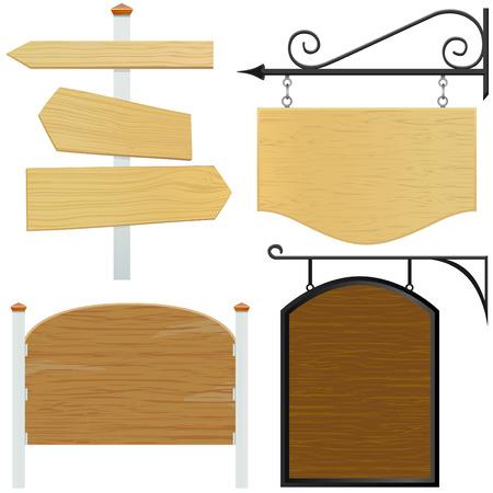 wooden post: conjunto de vector de signo de madera