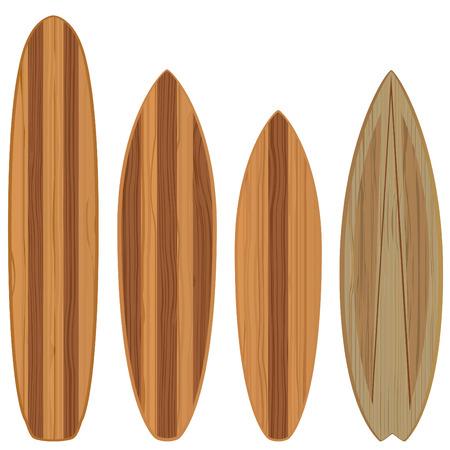 surf board: tablas de surf de madera Vectores