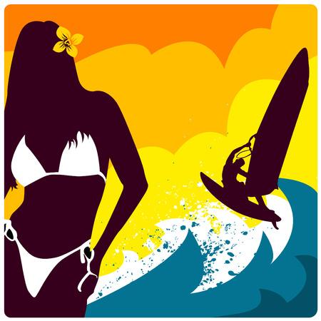 windsurf: surf and girl vector  Illustration