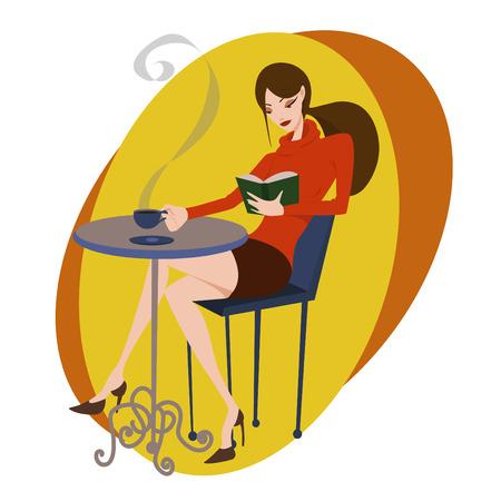 mujer tomando cafe: vector de caf�