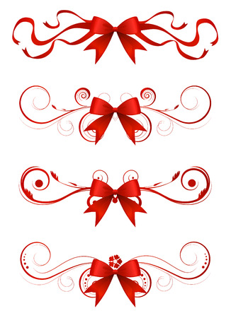 red ribbon bow: set of ribbon bow vector  Illustration