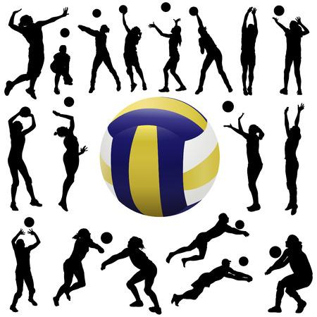 voleibol: conjunto de jugador de voleibol  Vectores