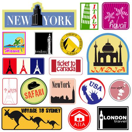 voyage: conjunto de etiqueta de viajes