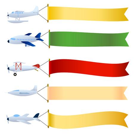航空ショー: メッセージ領域のセットを持つ平面  イラスト・ベクター素材