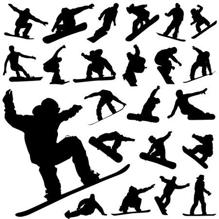 �jumping: conjunto de snowboard Vectores