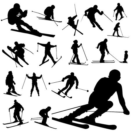 narciarz: zestaw narciarskie Ilustracja