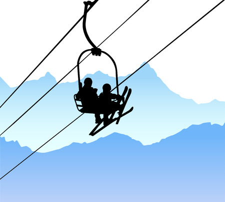 mountain skier: lift  Illustration