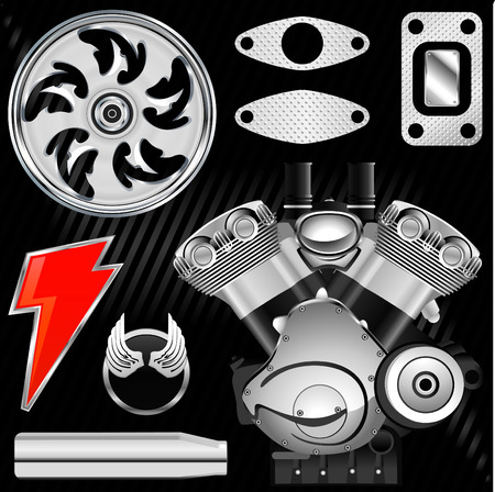 motorcycle part set  Vector