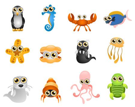 marine bird: vida marina - dibujos animados