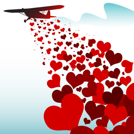 love cloud: hearts falling from a plane