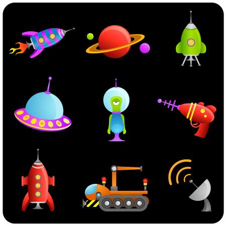 extraterrestres: espacio y extranjero de dibujos animados  Vectores