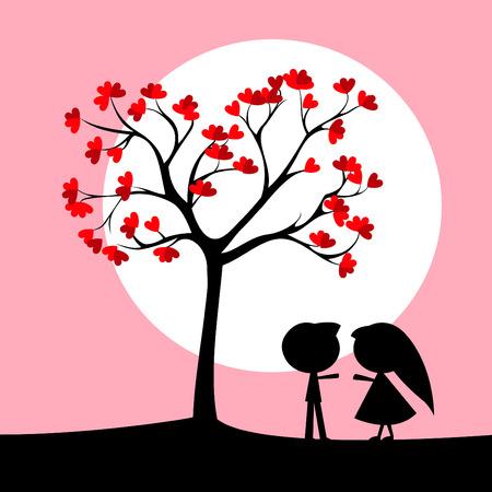 couple under love tree  Vector