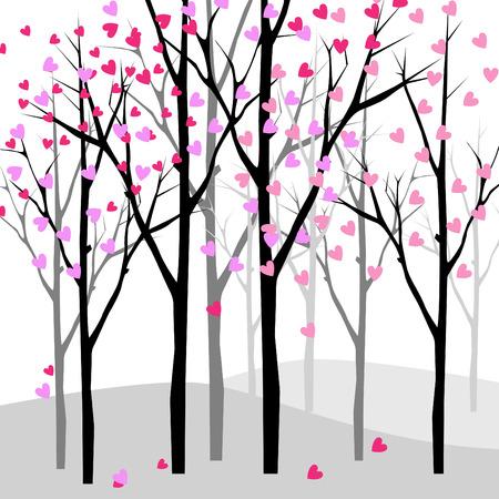 pink bushes: love tree  Illustration