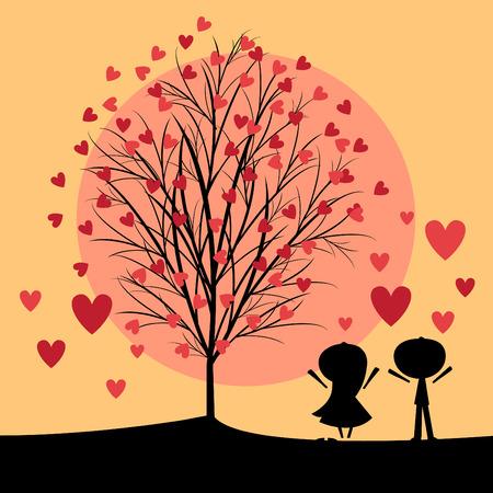 couple under love tree Stock Vector - 8610229
