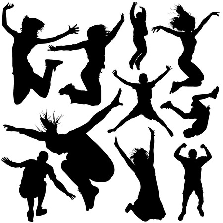 danseres silhouet: mensen springen