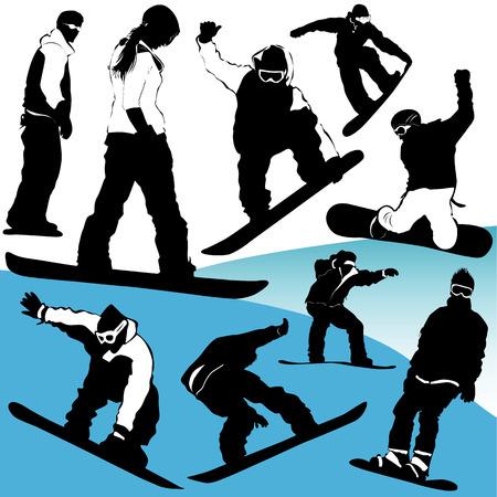 mountain skier: snowboard