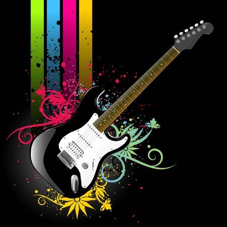 grunge Floral gitaar   Vector Illustratie