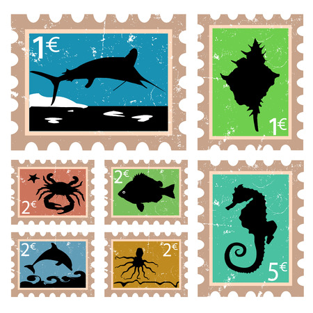 seawater: animal stamps  Illustration