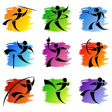 atletisch: sport pictogrammen Stock Illustratie
