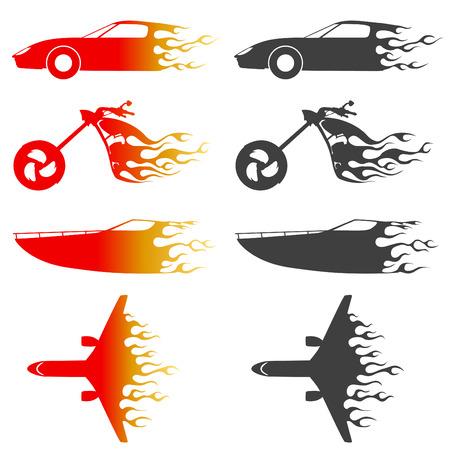 speed boat: incendios de veh�culos  Vectores