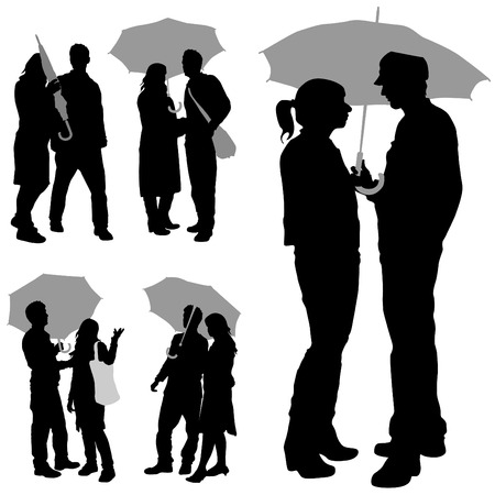 couple under an umbrella  Vector