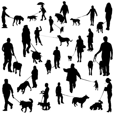 set of people with dogs  Vector