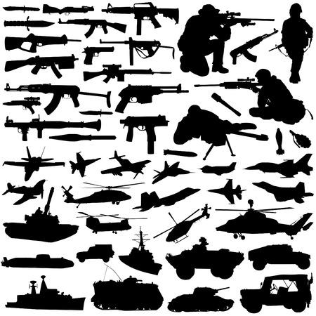 silhouette soldat: ensemble militaire