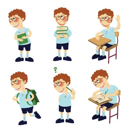 standing in line: student boy  Illustration