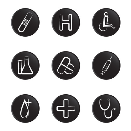 medical object icon set Stock Vector - 8764853