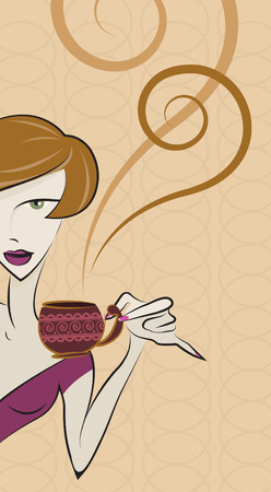girl drinking coffee vector  Vector