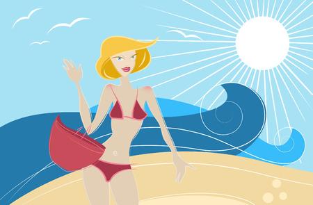 fashion girl on the beach vector  Vector