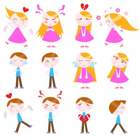 unhappy man: cute cartoon kids set  Illustration