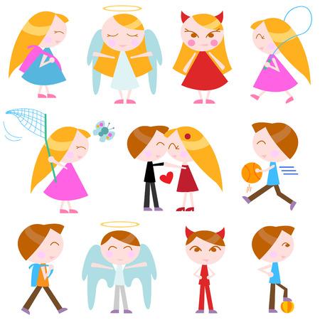 novios enojados: conjunto de ni�os de dibujos animados lindo